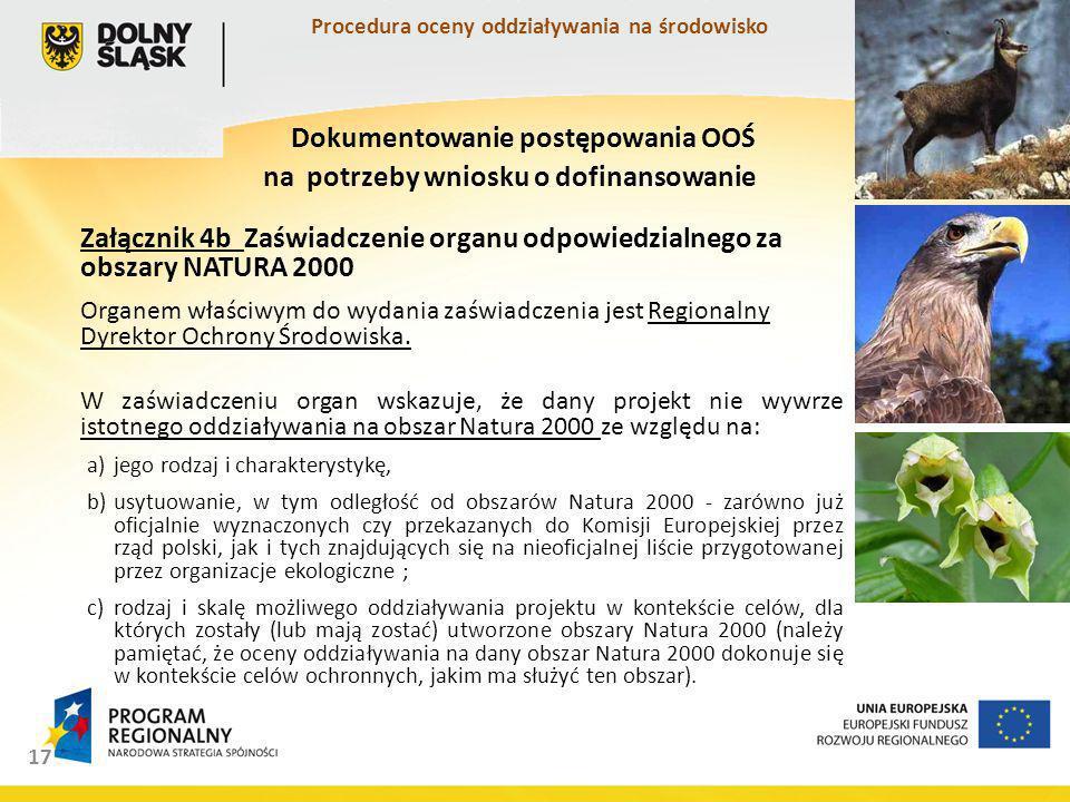 Załącznik 4b Zaświadczenie organu odpowiedzialnego za obszary NATURA 2000 Organem właściwym do wydania zaświadczenia jest Regionalny Dyrektor Ochrony Środowiska.