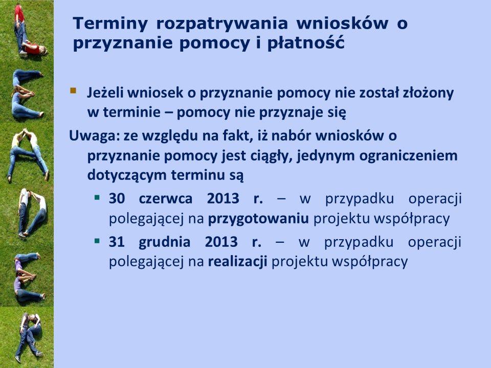 Terminy rozpatrywania wniosków o przyznanie pomocy i płatność Jeżeli wniosek o przyznanie pomocy nie został złożony w terminie – pomocy nie przyznaje się Uwaga: ze względu na fakt, iż nabór wniosków o przyznanie pomocy jest ciągły, jedynym ograniczeniem dotyczącym terminu są 30 czerwca 2013 r.