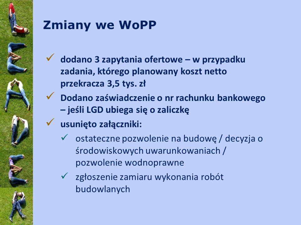 Zmiany we WoPP dodano 3 zapytania ofertowe – w przypadku zadania, którego planowany koszt netto przekracza 3,5 tys. zł Dodano zaświadczenie o nr rachu