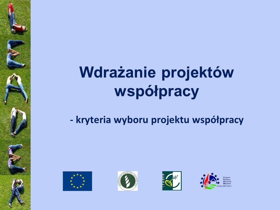 Wdrażanie projektów współpracy - kryteria wyboru projektu współpracy