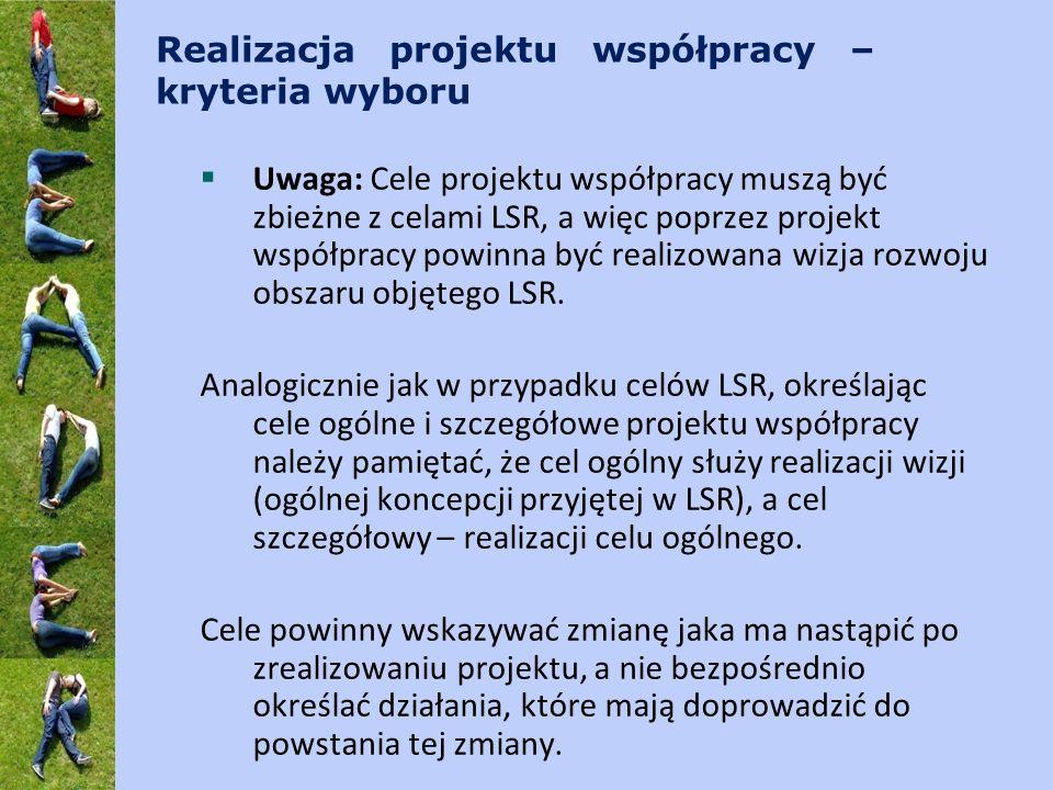 Realizacja projektu współpracy – kryteria wyboru Uwaga: Cele projektu współpracy muszą być zbieżne z celami LSR, a więc poprzez projekt współpracy powinna być realizowana wizja rozwoju obszaru objętego LSR.