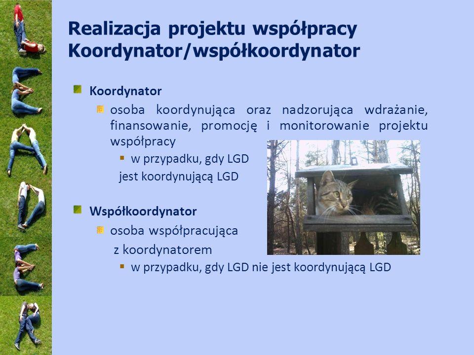 Realizacja projektu współpracy Koordynator/współkoordynator Koordynator osoba koordynująca oraz nadzorująca wdrażanie, finansowanie, promocję i monitorowanie projektu współpracy w przypadku, gdy LGD jest koordynującą LGD Współkoordynator osoba współpracująca z koordynatorem w przypadku, gdy LGD nie jest koordynującą LGD