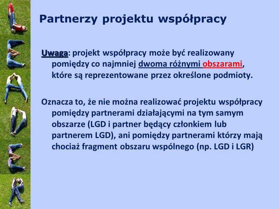 Partnerzy projektu współpracy Uwaga Uwaga: projekt współpracy może być realizowany pomiędzy co najmniej dwoma różnymi obszarami, które są reprezentowane przez określone podmioty.