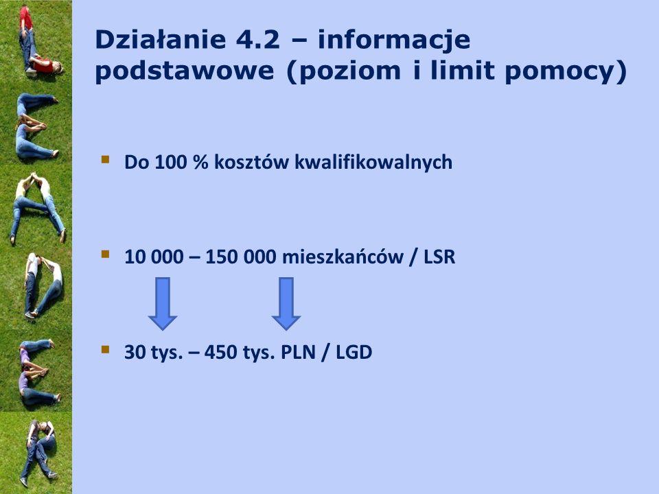 Działanie 4.2 – informacje podstawowe (poziom i limit pomocy) Do 100 % kosztów kwalifikowalnych 10 000 – 150 000 mieszkańców / LSR 30 tys. – 450 tys.