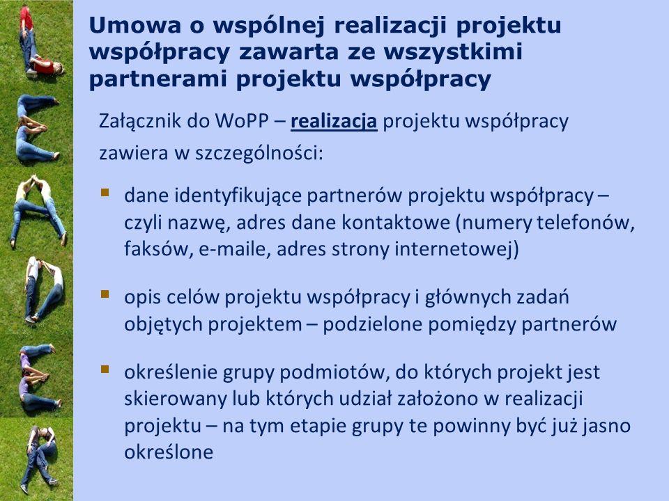 Umowa o wspólnej realizacji projektu współpracy zawarta ze wszystkimi partnerami projektu współpracy Załącznik do WoPP – realizacja projektu współpracy zawiera w szczególności: dane identyfikujące partnerów projektu współpracy – czyli nazwę, adres dane kontaktowe (numery telefonów, faksów, e-maile, adres strony internetowej) opis celów projektu współpracy i głównych zadań objętych projektem – podzielone pomiędzy partnerów określenie grupy podmiotów, do których projekt jest skierowany lub których udział założono w realizacji projektu – na tym etapie grupy te powinny być już jasno określone