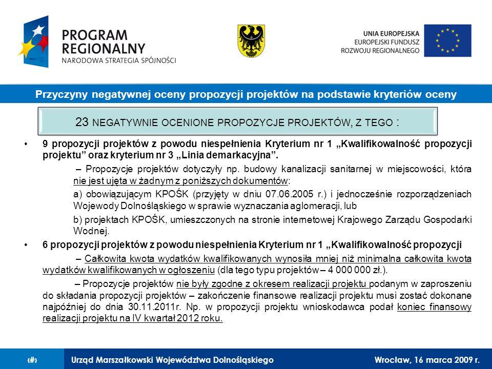 Urząd Marszałkowski Województwa DolnośląskiegoWrocław, 16 marca 2009 r.8 9 propozycji projektów z powodu niespełnienia Kryterium nr 1 Kwalifikowalność propozycji projektu oraz kryterium nr 3 Linia demarkacyjna.