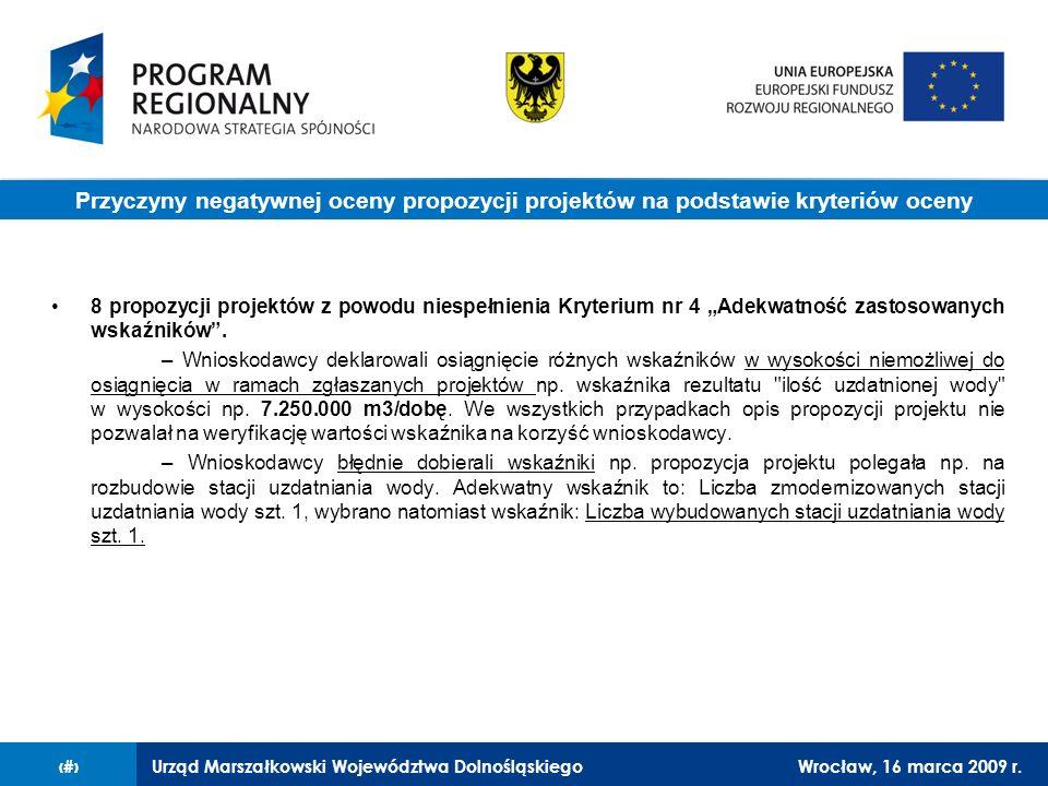 Urząd Marszałkowski Województwa DolnośląskiegoWrocław, 16 marca 2009 r.9 8 propozycji projektów z powodu niespełnienia Kryterium nr 4 Adekwatność zast