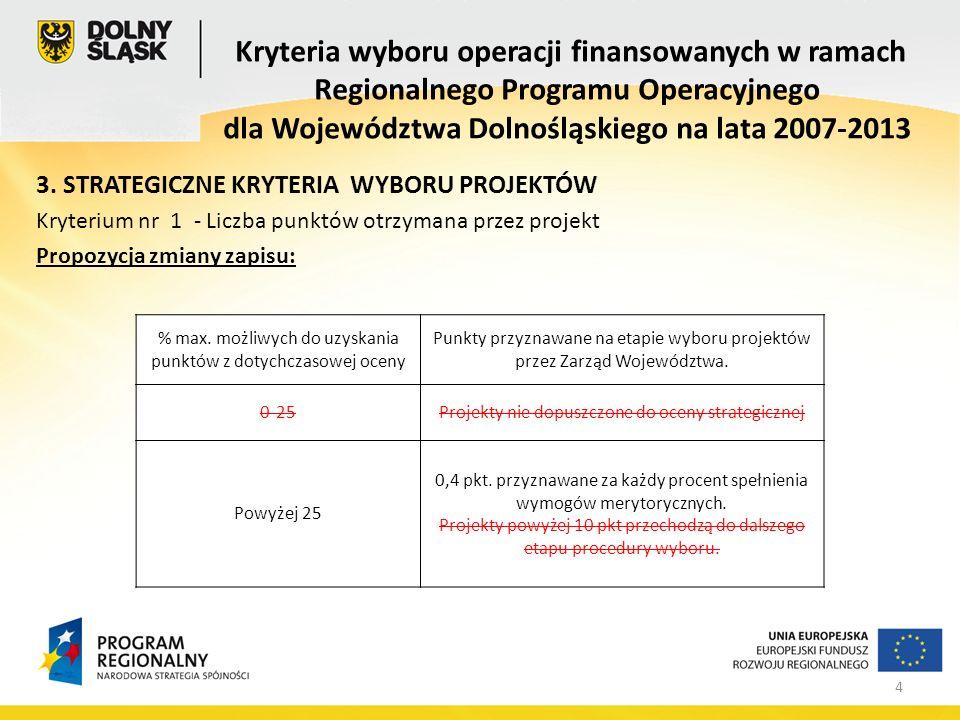 4 3. STRATEGICZNE KRYTERIA WYBORU PROJEKTÓW Kryterium nr 1 - Liczba punktów otrzymana przez projekt Propozycja zmiany zapisu: Kryteria wyboru operacji