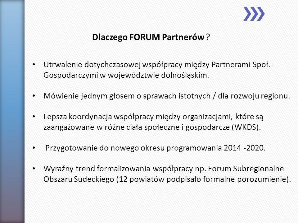 Utrwalenie dotychczasowej współpracy między Partnerami Społ.- Gospodarczymi w województwie dolnośląskim. Mówienie jednym głosem o sprawach istotnych /