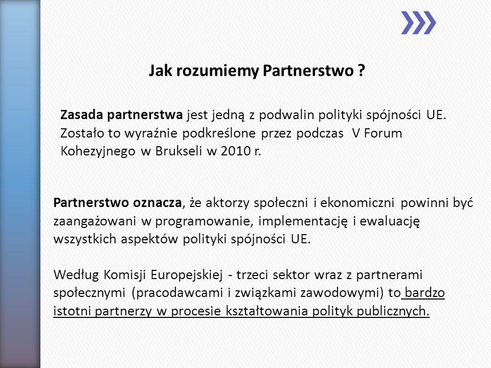 Partnerstwo oznacza, że aktorzy społeczni i ekonomiczni powinni być zaangażowani w programowanie, implementację i ewaluację wszystkich aspektów polity