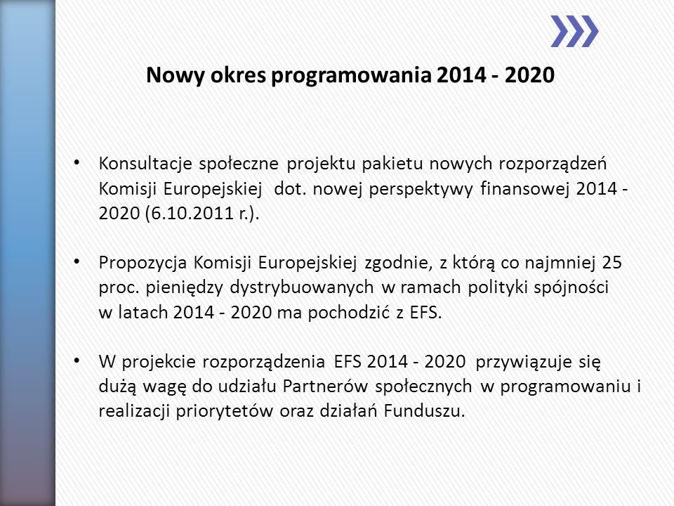 Konsultacje społeczne projektu pakietu nowych rozporządzeń Komisji Europejskiej dot. nowej perspektywy finansowej 2014 - 2020 (6.10.2011 r.). Propozyc