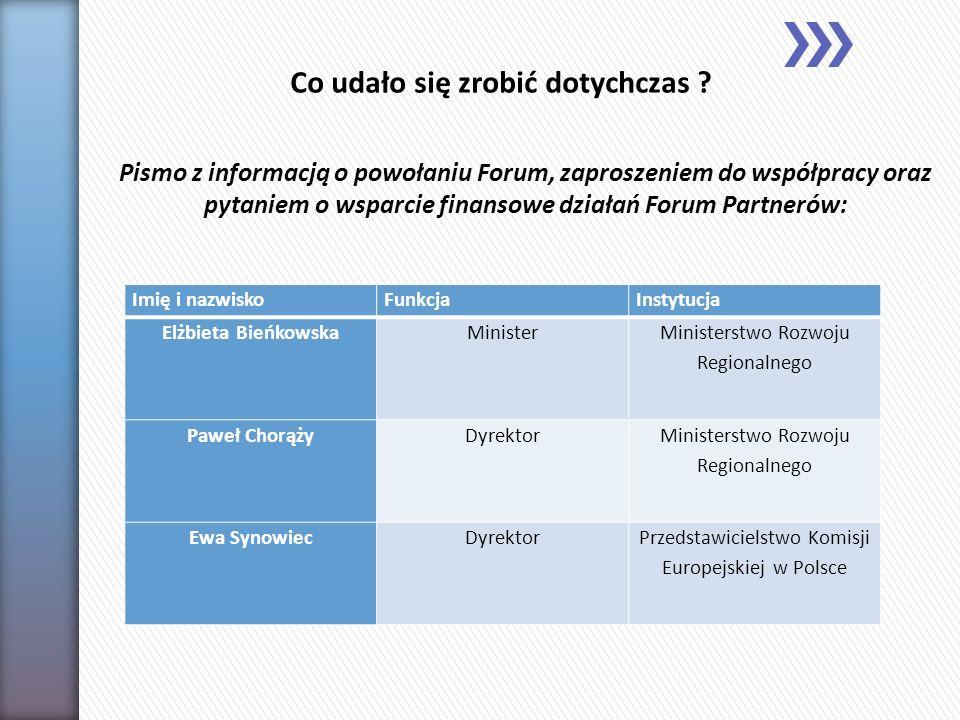 Pozostałe działania: Stworzenie dokładnej bazy danych wszystkich członków Forum Partnerów Społeczno – Gospodarczych.