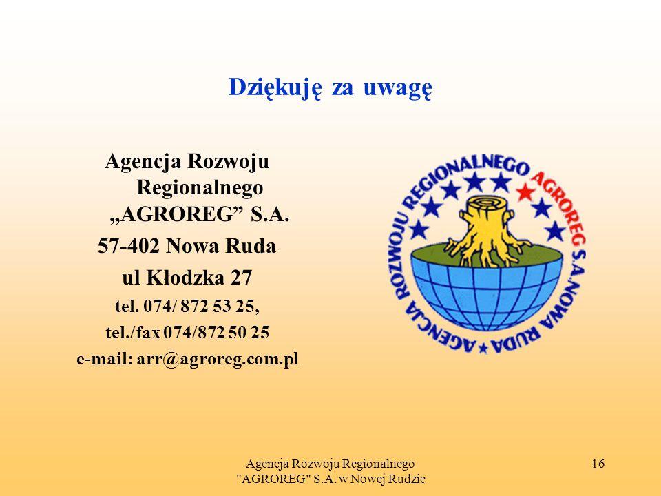Agencja Rozwoju Regionalnego AGROREG S.A.