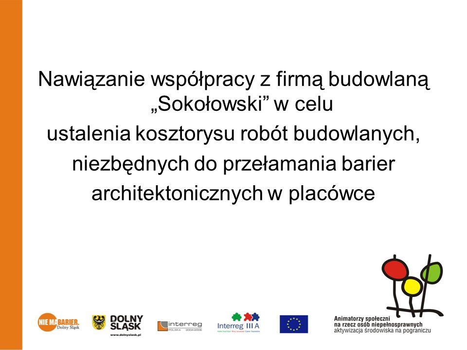 Nawiązanie współpracy z firmą budowlaną Sokołowski w celu ustalenia kosztorysu robót budowlanych, niezbędnych do przełamania barier architektonicznych w placówce