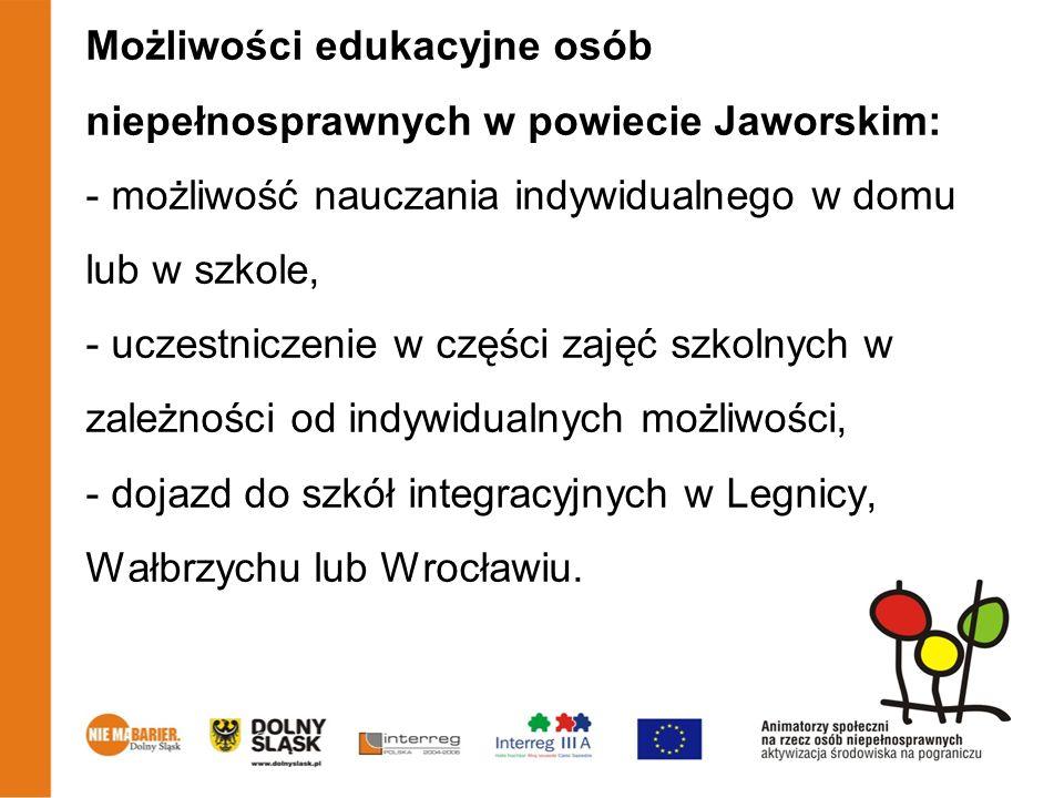 Możliwości edukacyjne osób niepełnosprawnych w powiecie Jaworskim: - możliwość nauczania indywidualnego w domu lub w szkole, - uczestniczenie w części zajęć szkolnych w zależności od indywidualnych możliwości, - dojazd do szkół integracyjnych w Legnicy, Wałbrzychu lub Wrocławiu.