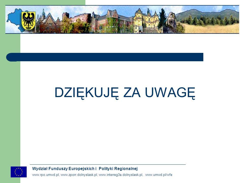www.rpo.umwd.pl, www.zporr.dolnyslask.pl, www.interreg3a.dolnyslask.pl, www.umwd.pl/wfe Wydział Funduszy Europejskich i Polityki Regionalnej DZIĘKUJĘ ZA UWAGĘ