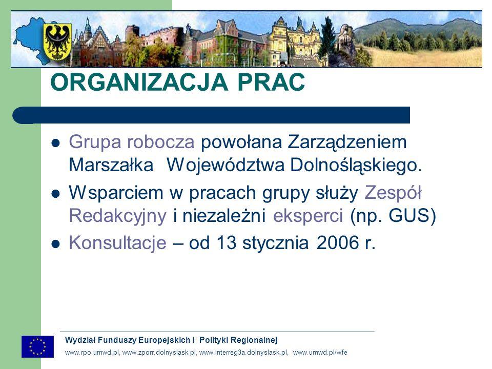 www.rpo.umwd.pl, www.zporr.dolnyslask.pl, www.interreg3a.dolnyslask.pl, www.umwd.pl/wfe Wydział Funduszy Europejskich i Polityki Regionalnej ORGANIZACJA PRAC Grupa robocza powołana Zarządzeniem Marszałka Województwa Dolnośląskiego.