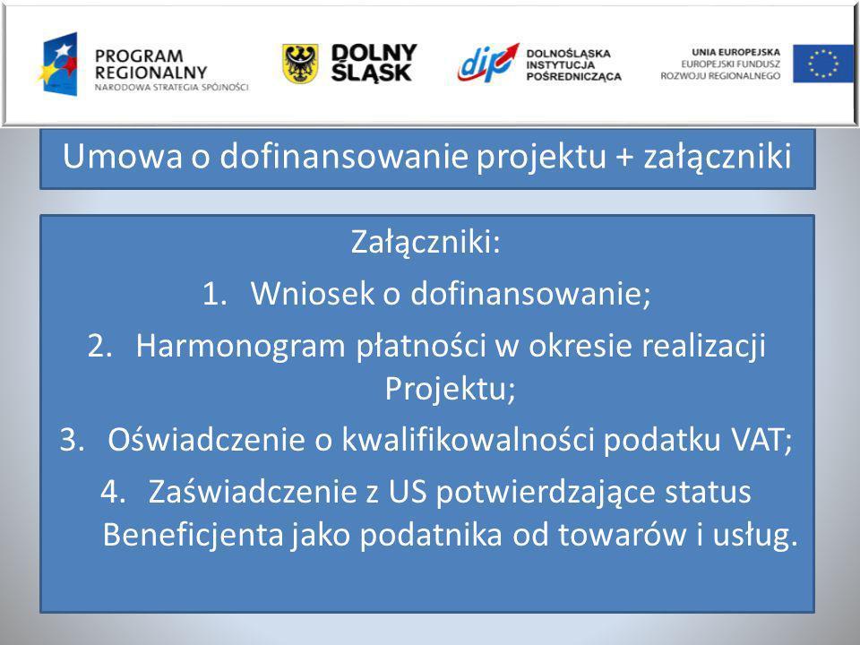 Umowa o dofinansowanie projektu + załączniki Załączniki: 1.Wniosek o dofinansowanie; 2.Harmonogram płatności w okresie realizacji Projektu; 3.Oświadcz