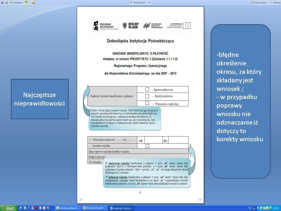 INSTRUKCJA DO WNIOSKU BENEFICJENTA O PŁATNOŚĆ SKŁADANEGO W RAMACH PRIORYTETU 1 RPO WD (Działanie 1.1 i 1.2) Informuje: iż Na odwrocie dokumentu: dekretację (w przypadku prowadzenia pełnej księgowości); numer księgowy, ewidencyjny lub pozycję dokumentu, nadane przez osobę prowadzącą odpowiednio ewidencję księgową, księgi rachunkowe lub wykaz/wyodrębnioną ewidencję dokumentów dotyczących operacji związanych z realizacją projektu; numer umowy o dofinansowanie projektu; numer Działania i nazwę projektu; opis kategorii wydatku wynikający z harmonogramu rzeczowo- finansowego do umowy o dofinansowanie projektu - należy zaznaczyć, do której kategorii odnosi się wydatek kwalifikowalny opisany fakturą/ dokumentem o równoważnej wartości dowodowej;