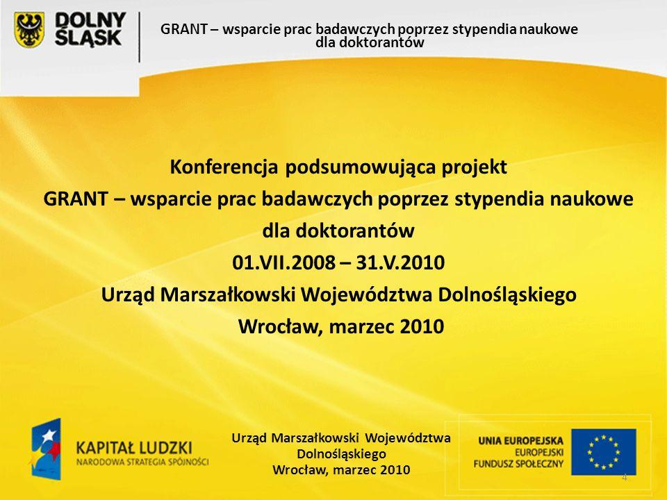 55 GRANT – wsparcie prac badawczych poprzez stypendia naukowe dla doktorantów Urząd Marszałkowski Województwa Dolnośląskiego Wrocław, marzec 2010 Czy w wyniku uczestnictwa w projekcie Twoje umiejętności pracy w zespole zwiększyły się.