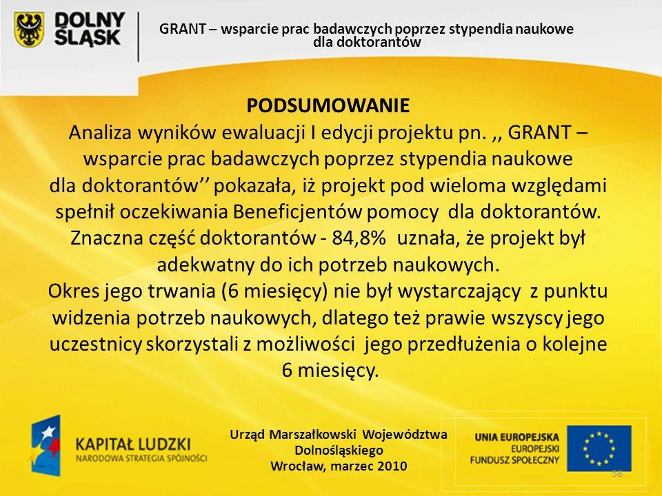 58 GRANT – wsparcie prac badawczych poprzez stypendia naukowe dla doktorantów Urząd Marszałkowski Województwa Dolnośląskiego Wrocław, marzec 2010