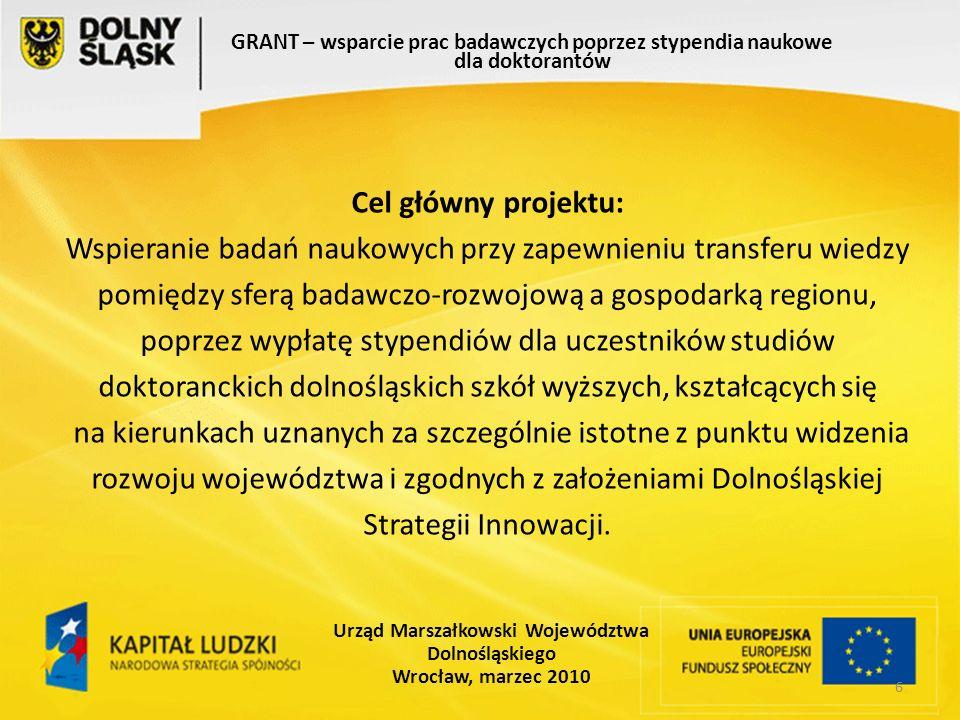 7 GRANT – wsparcie prac badawczych poprzez stypendia naukowe dla doktorantów Urząd Marszałkowski Województwa Dolnośląskiego Wrocław, marzec 2010 Cele szczegółowe: - wsparcie finansowe - wzrost świadomości potrzeb i korzyści wynikające z wdrożenia innowacji - zwiększenie jakości i poziomu badań naukowych - zwiększenie zdolności gospodarki do tworzenia i wdrażania innowacji - nasilenie procesu wymiany kadr między uczelniami, a przedsiębiorstwami - wzrost możliwości powodzenia firm w konkurencji na rynku.