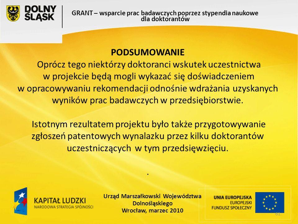 61 GRANT – wsparcie prac badawczych poprzez stypendia naukowe dla doktorantów Urząd Marszałkowski Województwa Dolnośląskiego Wrocław, marzec 2010
