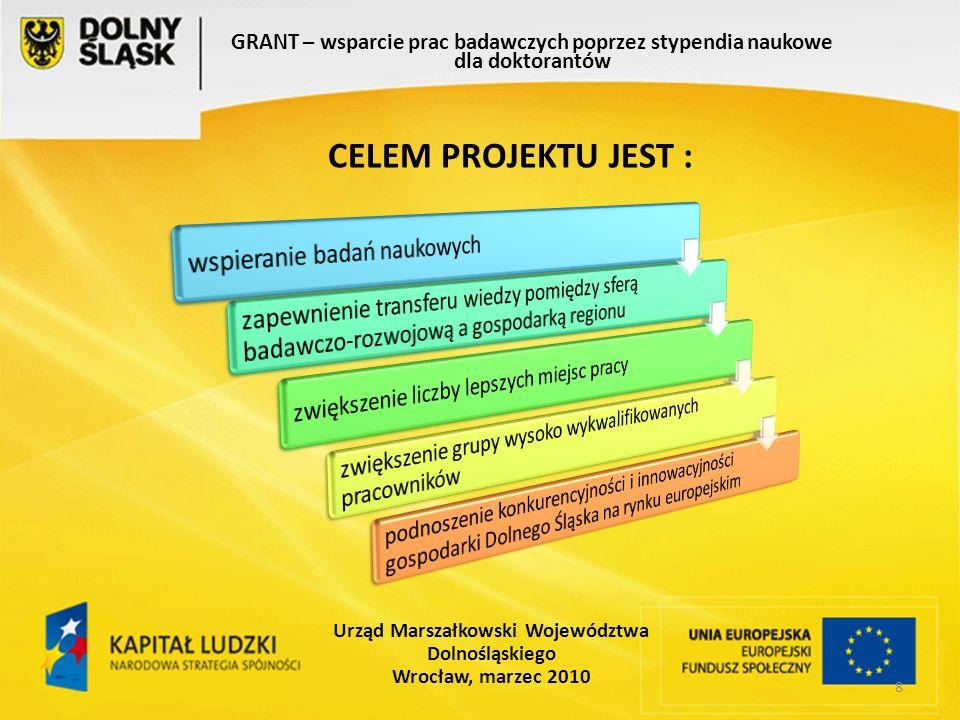 8 GRANT – wsparcie prac badawczych poprzez stypendia naukowe dla doktorantów Urząd Marszałkowski Województwa Dolnośląskiego Wrocław, marzec 2010 CELEM PROJEKTU JEST :
