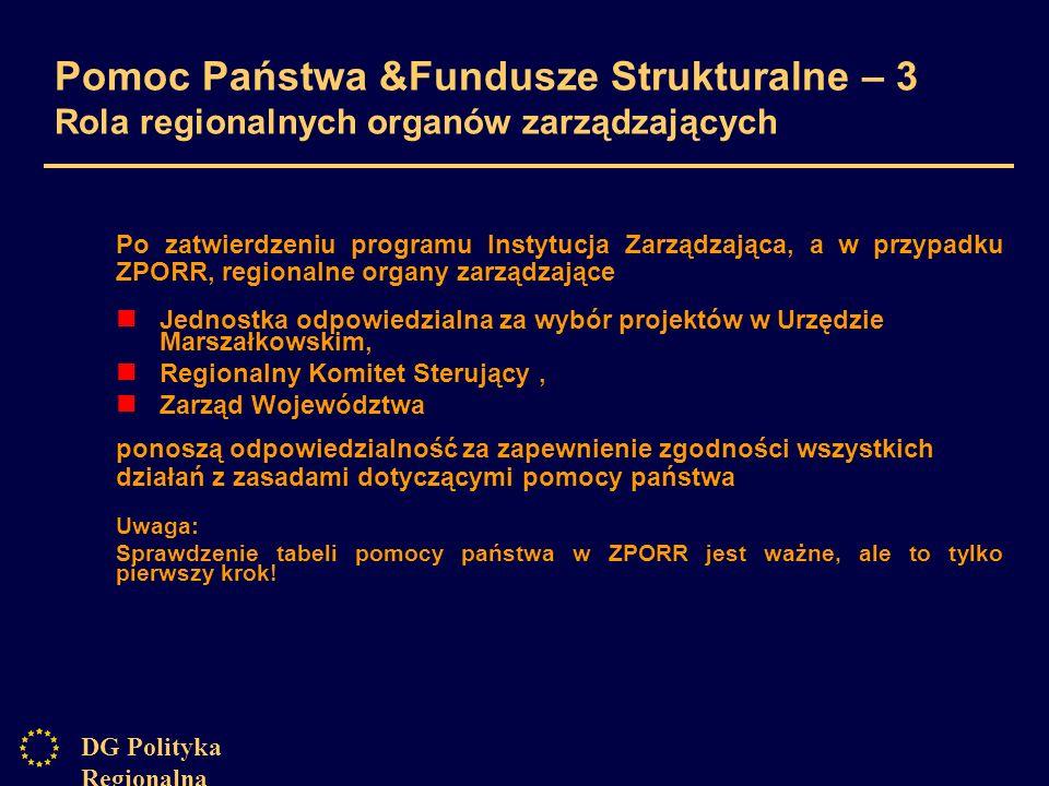 DG Polityka Regionalna Pomoc Państwa &Fundusze Strukturalne – 3 Rola regionalnych organów zarządzających Po zatwierdzeniu programu Instytucja Zarządzająca, a w przypadku ZPORR, regionalne organy zarządzające Jednostka odpowiedzialna za wybór projektów w Urzędzie Marszałkowskim, Regionalny Komitet Sterujący, Zarząd Województwa ponoszą odpowiedzialność za zapewnienie zgodności wszystkich działań z zasadami dotyczącymi pomocy państwa Uwaga: Sprawdzenie tabeli pomocy państwa w ZPORR jest ważne, ale to tylko pierwszy krok!