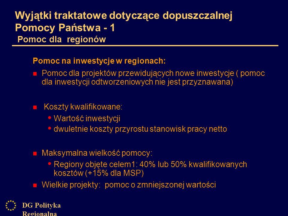 DG Polityka Regionalna Wyjątki traktatowe dotyczące dopuszczalnej Pomocy Państwa - 1 Pomoc dla regionów Pomoc na inwestycje w regionach: Pomoc dla projektów przewidujących nowe inwestycje ( pomoc dla inwestycji odtworzeniowych nie jest przyznawana) Koszty kwalifikowane: Wartość inwestycji dwuletnie koszty przyrostu stanowisk pracy netto Maksymalna wielkość pomocy: Regiony objęte celem1: 40% lub 50% kwalifikowanych kosztów (+15% dla MSP) Wielkie projekty: pomoc o zmniejszonej wartości
