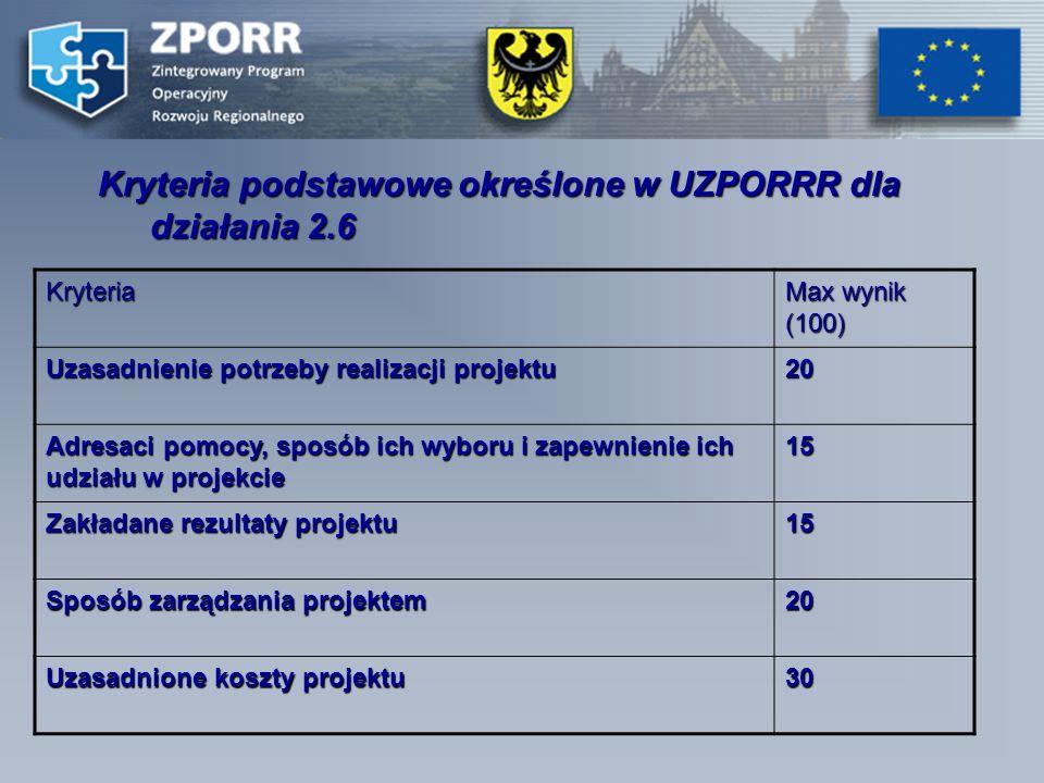 Kryteria podstawowe określone w UZPORRR dla działania 2.6 Kryteria Max wynik (100) Uzasadnienie potrzeby realizacji projektu 20 Adresaci pomocy, sposób ich wyboru i zapewnienie ich udziału w projekcie 15 Zakładane rezultaty projektu 15 Sposób zarządzania projektem 20 Uzasadnione koszty projektu 30