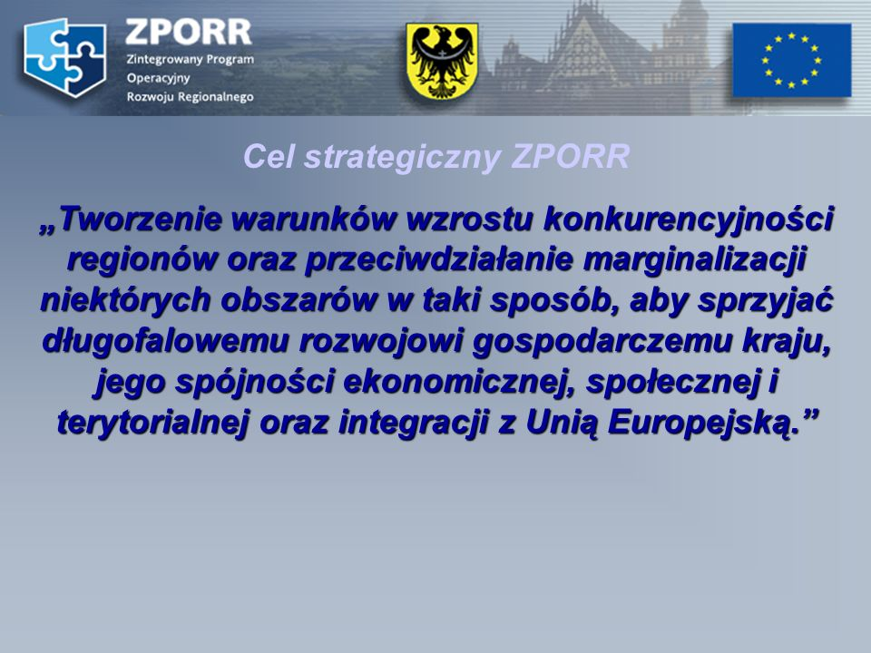 Cel strategiczny ZPORR Tworzenie warunków wzrostu konkurencyjności regionów oraz przeciwdziałanie marginalizacji niektórych obszarów w taki sposób, aby sprzyjać długofalowemu rozwojowi gospodarczemu kraju, jego spójności ekonomicznej, społecznej i terytorialnej oraz integracji z Unią Europejską.