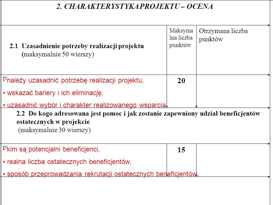 15 PT 2.2 Do kogo adresowana jest pomoc i jak zostanie zapewniony udział beneficjentów ostatecznych w projekcie (maksymalnie 30 wierszy) 20 PT Otrzymana liczba punktów Maksyma lna liczba punktów 2.1 Uzasadnienie potrzeby realizacji projektu (maksymalnie 50 wierszy) 2.
