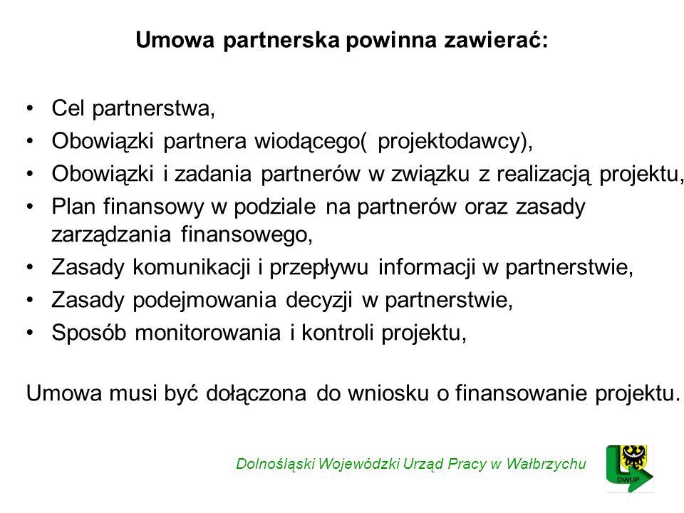 Umowa partnerska powinna zawierać: Cel partnerstwa, Obowiązki partnera wiodącego( projektodawcy), Obowiązki i zadania partnerów w związku z realizacją projektu, Plan finansowy w podziale na partnerów oraz zasady zarządzania finansowego, Zasady komunikacji i przepływu informacji w partnerstwie, Zasady podejmowania decyzji w partnerstwie, Sposób monitorowania i kontroli projektu, Umowa musi być dołączona do wniosku o finansowanie projektu.