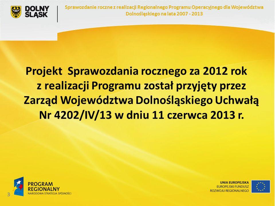 3 Projekt Sprawozdania rocznego za 2012 rok z realizacji Programu został przyjęty przez Zarząd Województwa Dolnośląskiego Uchwałą Nr 4202/IV/13 w dniu 11 czerwca 2013 r.