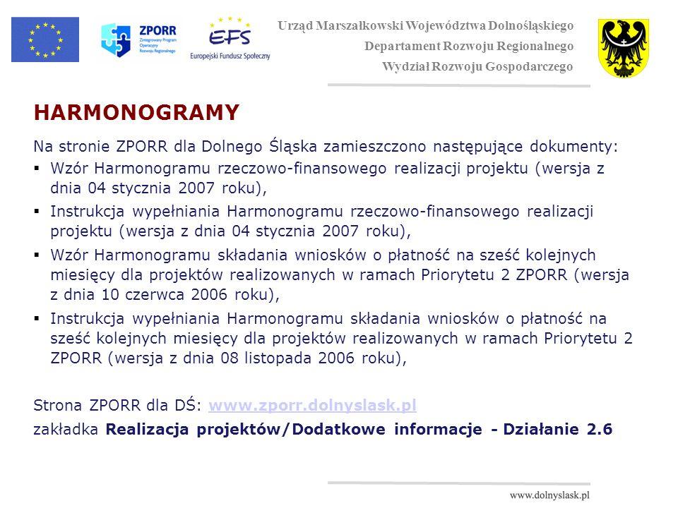 HARMONOGRAMY Na stronie ZPORR dla Dolnego Śląska zamieszczono następujące dokumenty: Wzór Harmonogramu rzeczowo-finansowego realizacji projektu (wersja z dnia 04 stycznia 2007 roku), Instrukcja wypełniania Harmonogramu rzeczowo-finansowego realizacji projektu (wersja z dnia 04 stycznia 2007 roku), Wzór Harmonogramu składania wniosków o płatność na sześć kolejnych miesięcy dla projektów realizowanych w ramach Priorytetu 2 ZPORR (wersja z dnia 10 czerwca 2006 roku), Instrukcja wypełniania Harmonogramu składania wniosków o płatność na sześć kolejnych miesięcy dla projektów realizowanych w ramach Priorytetu 2 ZPORR (wersja z dnia 08 listopada 2006 roku), Strona ZPORR dla DŚ: www.zporr.dolnyslask.plwww.zporr.dolnyslask.pl zakładka Realizacja projektów/Dodatkowe informacje - Działanie 2.6 Urząd Marszałkowski Województwa Dolnośląskiego Departament Rozwoju Regionalnego Wydział Rozwoju Gospodarczego