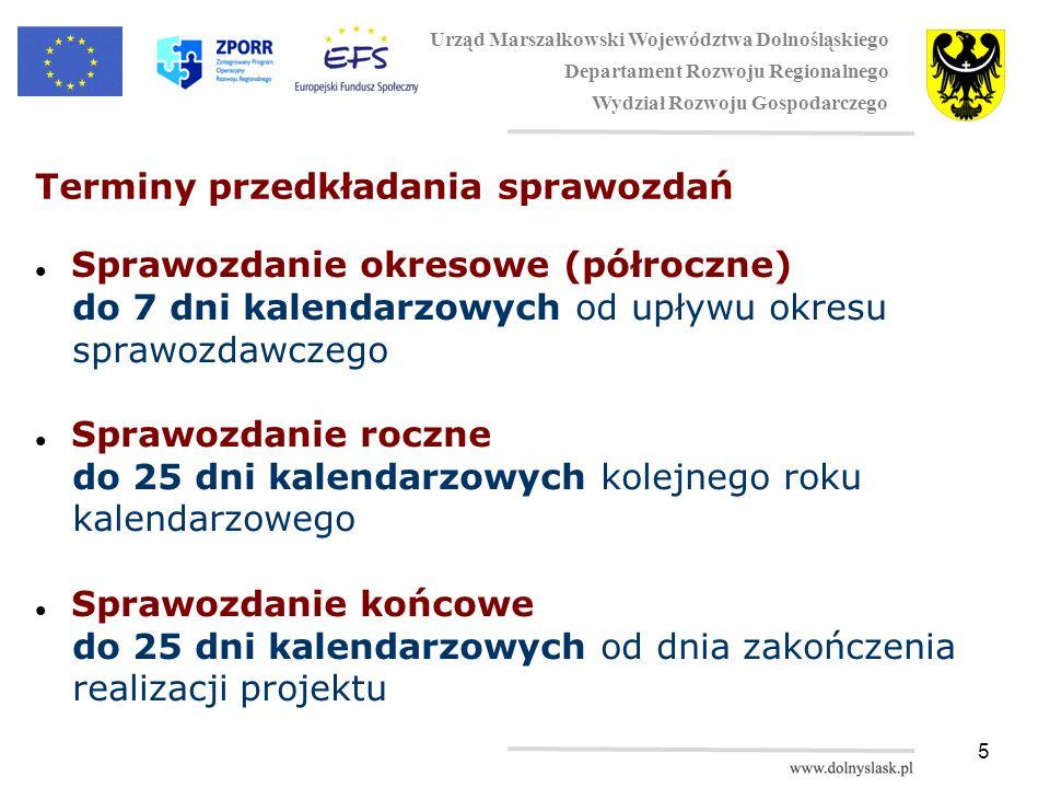 5 Terminy przedkładania sprawozdań Sprawozdanie okresowe (półroczne) do 7 dni kalendarzowych od upływu okresu sprawozdawczego Sprawozdanie roczne do 25 dni kalendarzowych kolejnego roku kalendarzowego Sprawozdanie końcowe do 25 dni kalendarzowych od dnia zakończenia realizacji projektu Urząd Marszałkowski Województwa Dolnośląskiego Departament Rozwoju Regionalnego Wydział Rozwoju Gospodarczego