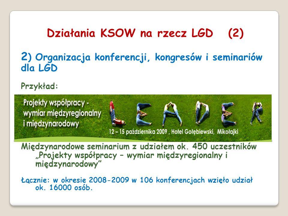 2 ) Organizacja konferencji, kongresów i seminariów dla LGD Przykład: Międzynarodowe seminarium z udziałem ok. 450 uczestników Projekty współpracy – w