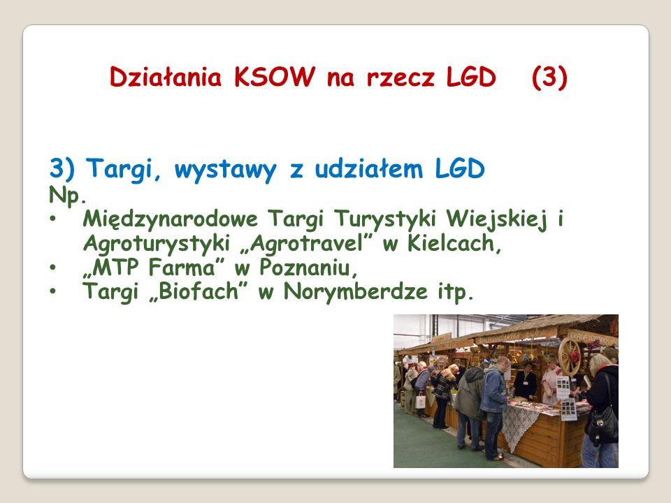 3) Targi, wystawy z udziałem LGD Np. Międzynarodowe Targi Turystyki Wiejskiej i Agroturystyki Agrotravel w Kielcach, MTP Farma w Poznaniu, Targi Biofa