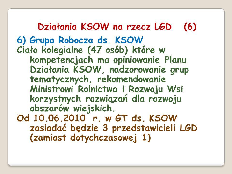 6) Grupa Robocza ds. KSOW Ciało kolegialne (47 osób) które w kompetencjach ma opiniowanie Planu Działania KSOW, nadzorowanie grup tematycznych, rekome