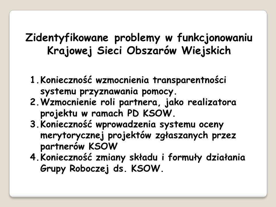 Zidentyfikowane problemy w funkcjonowaniu Krajowej Sieci Obszarów Wiejskich 1.Konieczność wzmocnienia transparentności systemu przyznawania pomocy. 2.