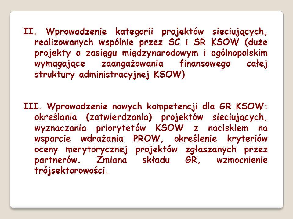 II. Wprowadzenie kategorii projektów sieciujących, realizowanych wspólnie przez SC i SR KSOW (duże projekty o zasięgu międzynarodowym i ogólnopolskim