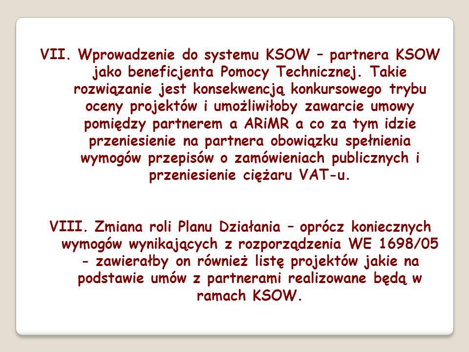 VII. Wprowadzenie do systemu KSOW – partnera KSOW jako beneficjenta Pomocy Technicznej. Takie rozwiązanie jest konsekwencją konkursowego trybu oceny p