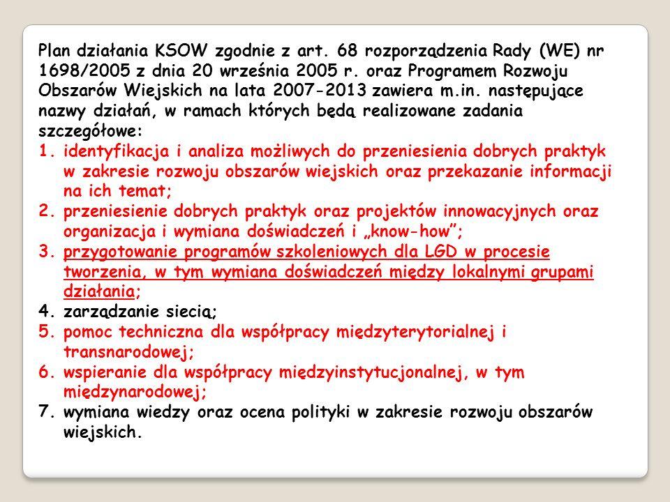 Plan działania KSOW zgodnie z art. 68 rozporządzenia Rady (WE) nr 1698/2005 z dnia 20 września 2005 r. oraz Programem Rozwoju Obszarów Wiejskich na la