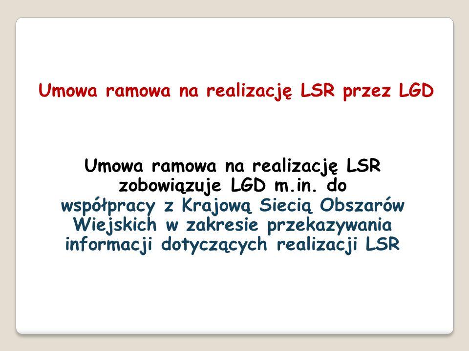 Umowa ramowa na realizację LSR zobowiązuje LGD m.in. do współpracy z Krajową Siecią Obszarów Wiejskich w zakresie przekazywania informacji dotyczących