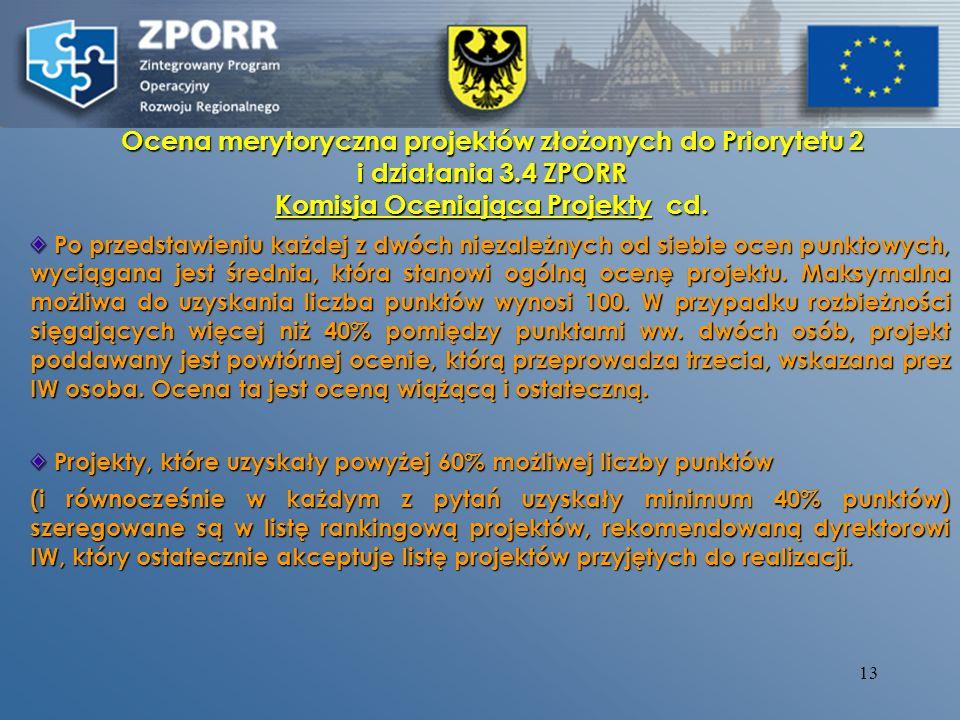 12 Ocena merytoryczna projektów złożonych do Priorytetu 2 i działania 3.4 ZPORR Komisja Oceniająca Projekty Umiejscowione są w instytucjach pełniących