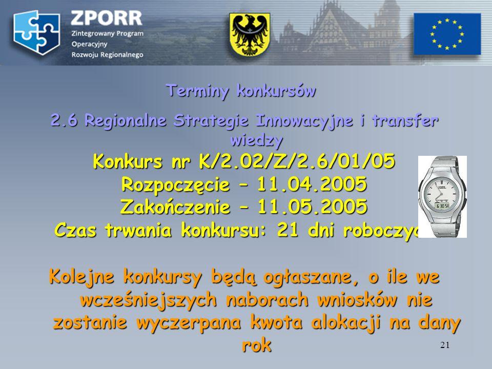 20 DZIAŁANIE 2.6 Regionalne strategie innowacyjne i transfer wiedzy Podział środków finansowych w ramach działania ujęte w Ramowym Planie Realizacji Działania (Kurs EURO 4, 7894): – EFS (5 766 611, 43 PLN) + Budżet Państwa (1 922 203, 81 PLN) Projekty własne: EFS ( 2 306 644, 57 PLN ) + Budżet Państwa (768 881, 52 PLN) Projekty składane w odpowiedzi na konkurs (konkurs zamknięty): EFS (3 459 966, 86 PLN) + Budżet Państwa (1 153 322, 29 PLN) EFS (3 459 966, 86 PLN) + Budżet Państwa (1 153 322, 29 PLN)