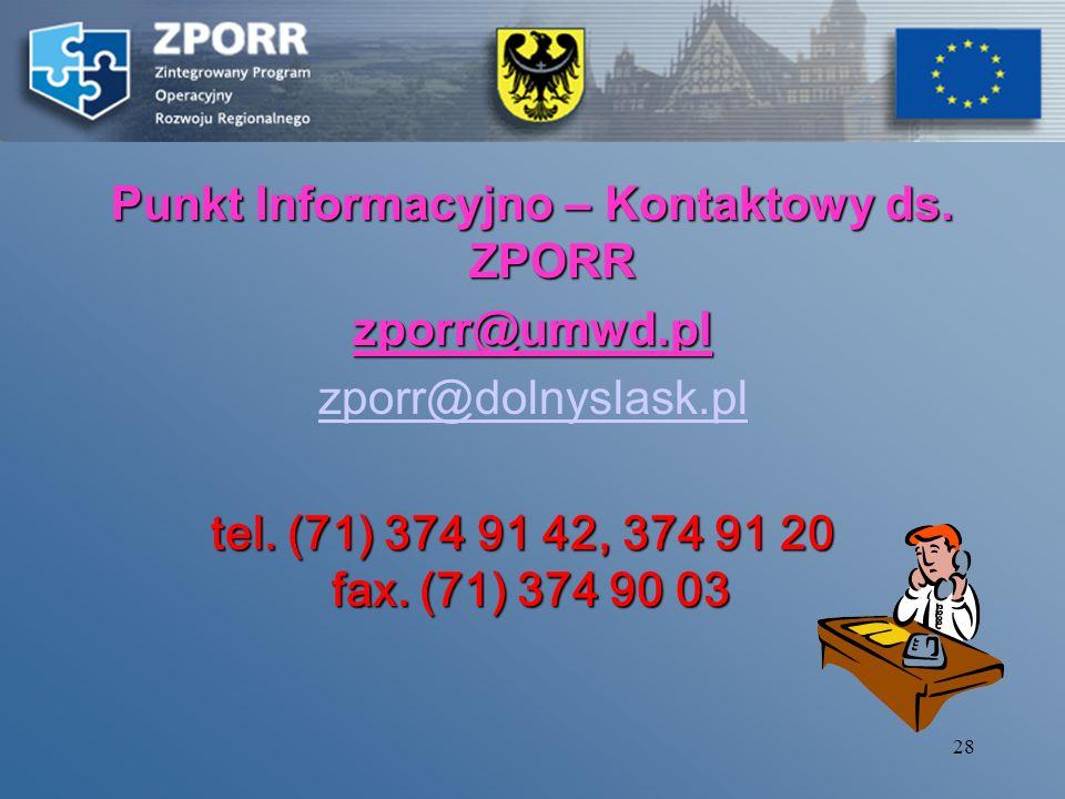 27 Ważne informacje Generator Wniosków www.zporr.dolnyslask.pl www. mgip.gov.pl Instrukcja wypełniania wniosków !!! DOKUMENTY PROGRAMOWE