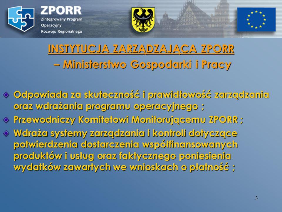 2 Instytucje zaangażowane w realizację ZPORR Instytucja Zarządzająca ZPORR - Ministerstwo Gospodarki i Pracy Instytucja Zarządzająca ZPORR - Ministers