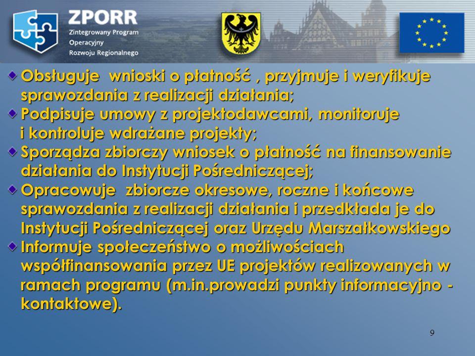 8 Instytucja Wdrażająca w ramach Priorytetu 2 oraz działania 3.4 ZPORR: - Urząd Marszałkowski: Wydzial Edukacji i Nauki (działanie 2.2), Wydzial Rozwoju Gospodarczego (działanie 2.6) Wydzial Rozwoju Gospodarczego (działanie 2.6) - Dolnośląski Wojewódzki Urząd Pracy (działania 2.1, 2.3, 2.4, 2.5) - Wrocławska Agencja Rozwoju Regionalnego S.A.